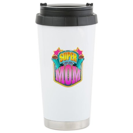 Pink Super Mom Ceramic Travel Mug