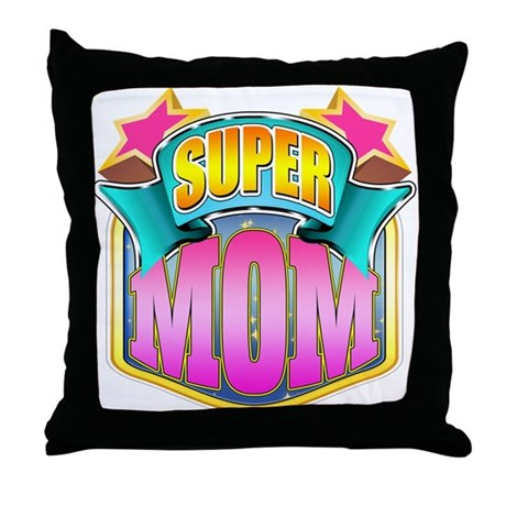 Pink Super Mom Throw Pillow