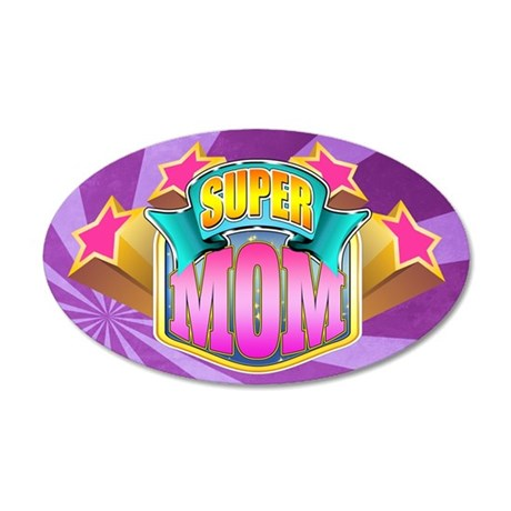 Pink Super Mom 38.5 x 24.5 Oval Wall Peel