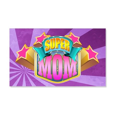 Pink Super Mom 22x14 Wall Peel
