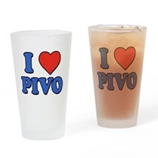 I Love Pivo Drinking Glass