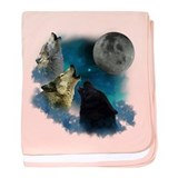 Northern Lights Wolfs Howling baby blanket
