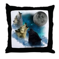 Northern Lights Wolfs Howling Throw Pillow