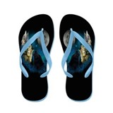 Northern Lights Wolfs Howling Flip Flops