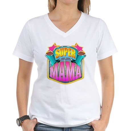 Pink Super Mama Women's V-Neck T-Shirt