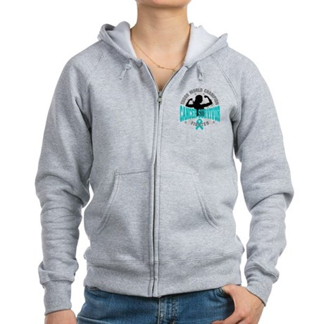 Ovarian Cancer Tough Survivor Women's Zip Hoodie