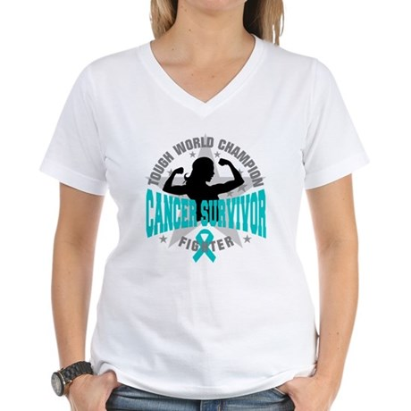 Ovarian Cancer Tough Survivor Women's V-Neck T-Shi