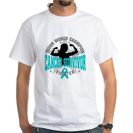 Ovarian Cancer Tough Survivor White T-Shirt