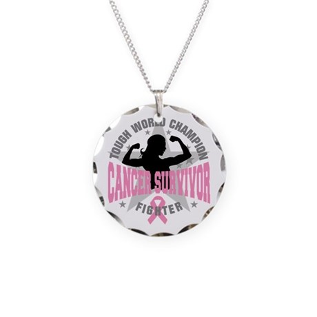 Breast Cancer Tough Survivor Necklace Circle Charm