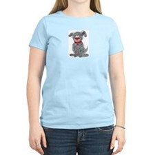 Women's Pink T-Shirt with Fuzzy Puppy Graphic