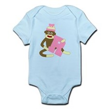 Sock Monkey Monogram Girl R Infant Bodysuit