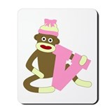 Sock Monkey Monogram Girl V Mousepad