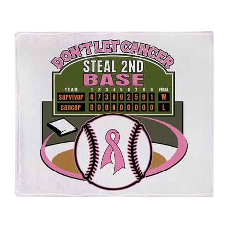 Dont Let Cancer Steal 2nd Base Throw Blanket