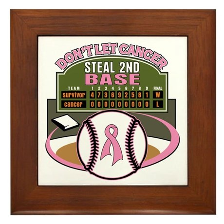 Dont Let Cancer Steal 2nd Base Framed Tile