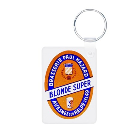 France Beer Label 9 Aluminum Photo Keychain