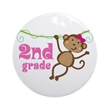 Cute 2nd Grade Monkey Gift Ornament (Round)