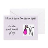 Stork Baby Girl Shower Blank Thank You Cards (6)