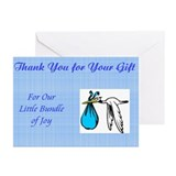 Stork Baby Boy Shower Blank Thank You Cards (6)