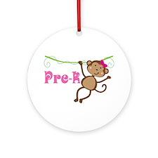 Cute Pre-K Monkey Gift Ornament (Round)