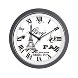Vintage Eiffel Tower Wall Clock