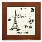 Vintage Eiffel Tower Framed Tile