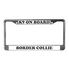 K9 On Board Border Collie License Plate Frame