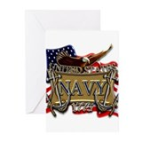 US Navy Flag Anchors and Eagl Greeting Cards (Pk o