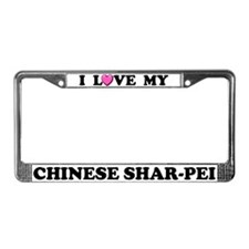 I Love My Chinese Shar-Pei License Plate Frame