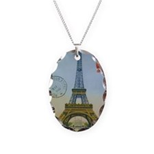 Vintage Eiffel Tower Necklace Oval Charm