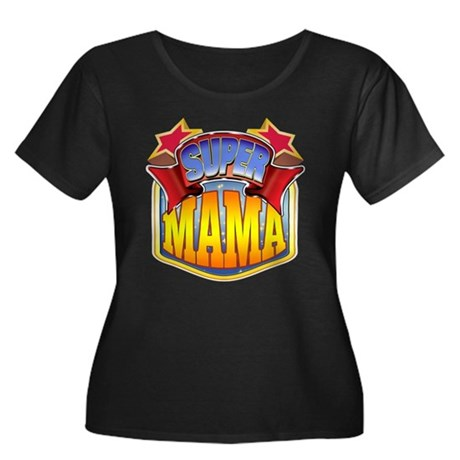 Super Mama Women's Plus Size Scoop Neck Dark T-Shi