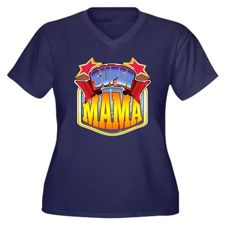 Super Mama Women's Plus Size V-Neck Dark T-Shirt