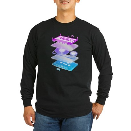 Cassette Explosion Long Sleeve Dark T-Shirt