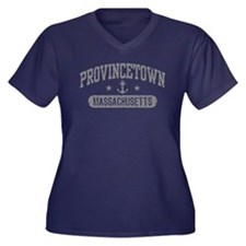 Provincetown Women's Plus Size V-Neck Dark T-Shirt