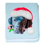 Blaclk Lab Christmas baby blanket