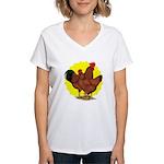 Production Red Sunburst Women's V-Neck T-Shirt