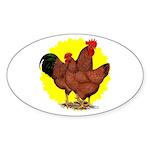 Production Red Sunburst Sticker (Oval 50 pk)