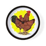 Production Red Sunburst Wall Clock