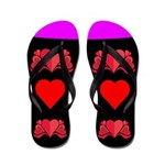 Black Hearts Flip Flops