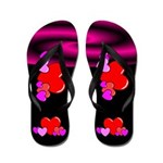 Retro Black Hearts Flip Flops