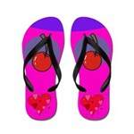 Cherry Hearts Flip Flops