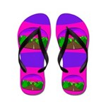 Neon Road Flip Flops