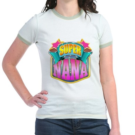 Pink Super Nana Jr. Ringer T-Shirt