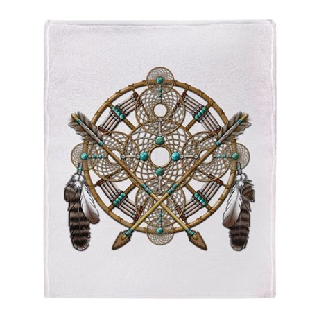 Turquoise Silver Dreamcatcher Throw Blanket