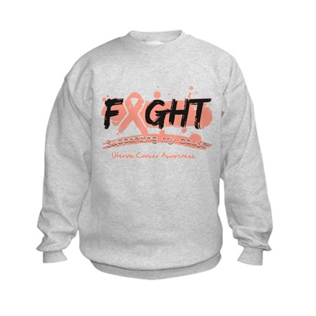 Fight Uterine Cancer Cause Kids Sweatshirt