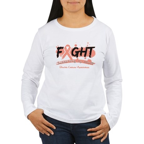Fight Uterine Cancer Cause Women's Long Sleeve T-S