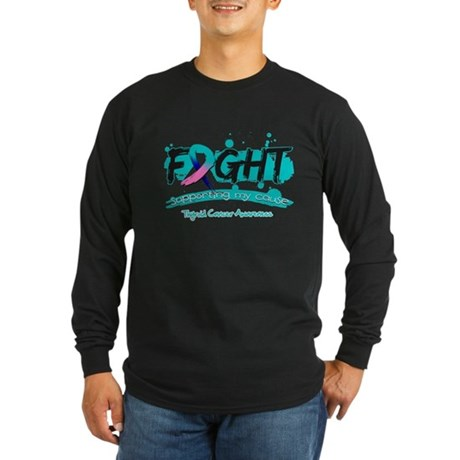 Fight Thyroid Cancer Cause Long Sleeve Dark T-Shir