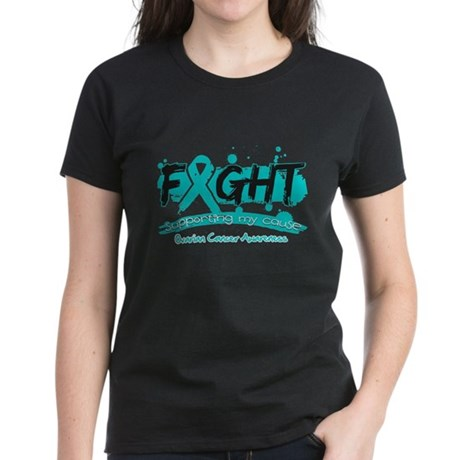 Fight Ovarian Cancer Cause Women's Dark T-Shirt