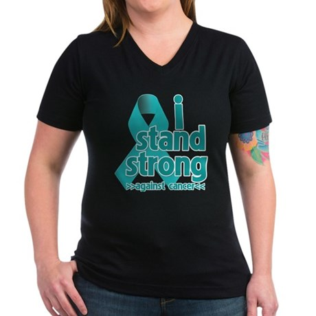 I Stand Ovarian Cancer Women's V-Neck Dark T-Shirt