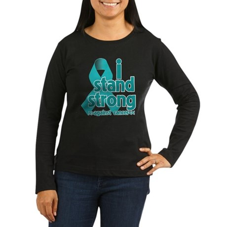I Stand Ovarian Cancer Women's Long Sleeve Dark T-