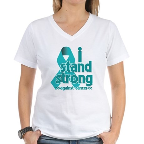 I Stand Ovarian Cancer Women's V-Neck T-Shirt